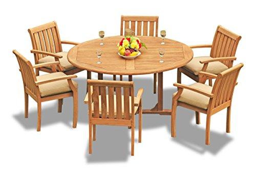 (New 7 Pc Luxurious Grade-A Teak Wood Outdoor Dining Set - 60