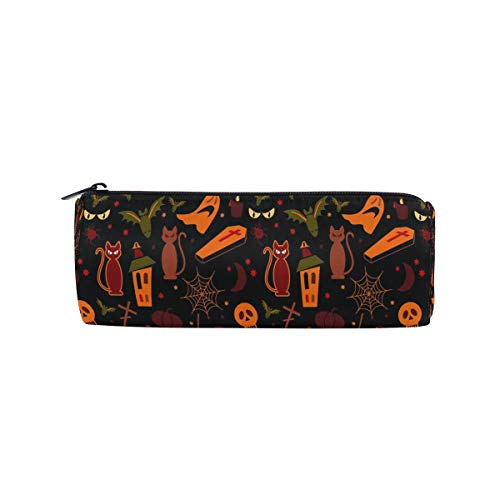 Pencil Case Halloween Seamless Wallpaper Zippered Pencil Box Round Stationery Bag Makeup Cosmetic Bag for Students/Women -