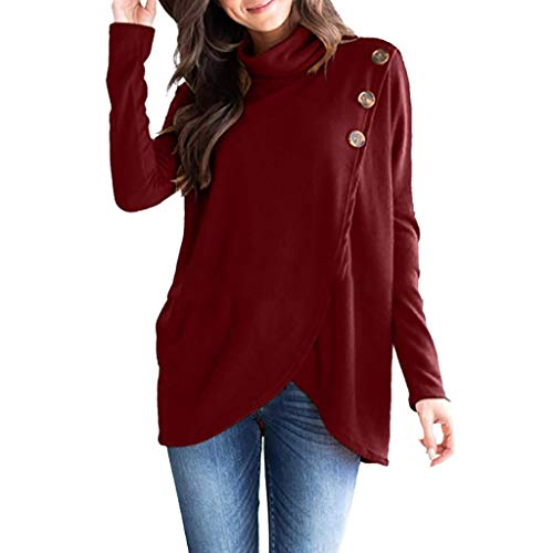 Womens Button Wrap Asymmetrical Pullover Sweater Cowl Neck Sweater Knitted Loose Tops