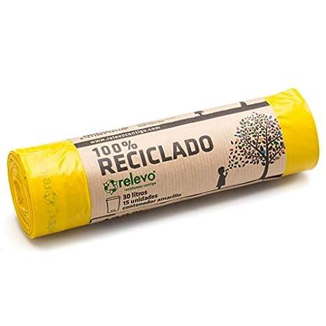 Relevo 100% Reciclado Bolsas de Basura, extra resistentes 30 L, 15 bolsas