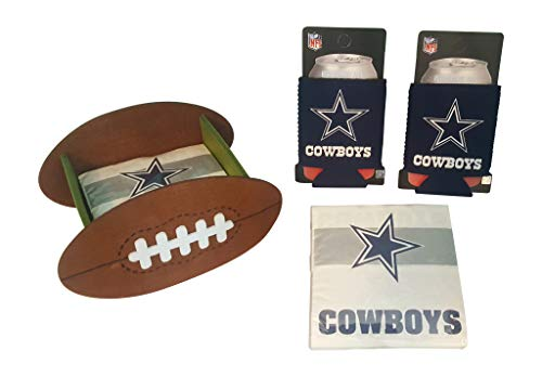 Dallas Cowboys Fan Set Includes 2 Can Cooler Koozies Football Shaped Cocktail Napkin Holder & 50 Logo Napkins
