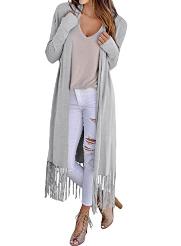 Arainlo Ladies Soild Maxi Duster Long Cardigans Lightweight Trench Coat Cardigan for Women Grey (Fringed Sweater Coat)