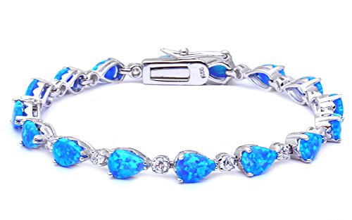 (Pear Cut Lab Created Blue Opal & Cubic Zirconia .925 Sterling Silver Bracelet 7.25