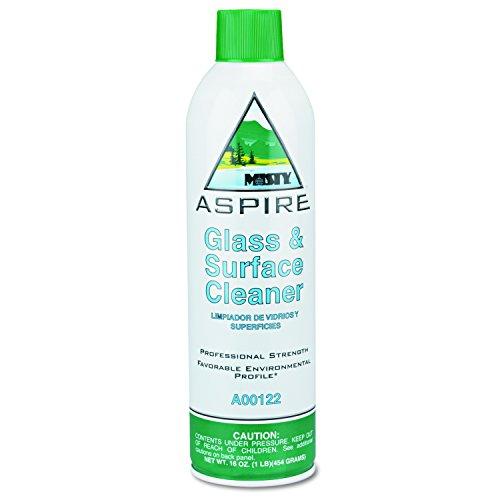 Misty 1038044 Aspire Glass & Surface Cleaner, Lemon Scent, 16oz Aerosol (Case of 12) by MISTY