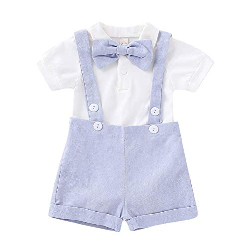 Baby Boys Gentleman Outfits Set Short Sleeve Romper with Tie and Overalls Bib Pants Wedding Tuxedo Outfits (A Blue, 0-6 Months)