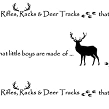 Deer Fabric - Rifles, Racks & Deer Tracks / Crib Sheet by buckwoodsdesignco - Deer Fabric with Spoonflower - Printed on Fleece Fabric by the Yard