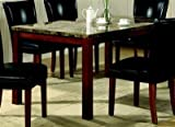 Coaster Dining Table with Marble-Like Top Rich Cherry Finish