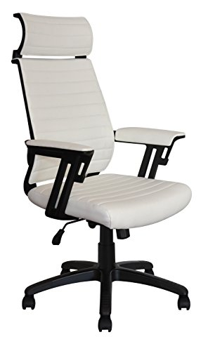 (Executive Contemporary Office Chair - Ribbed Vegan Leather seat - Ergonomic Back Support - Dual Heavy Duty Lever and tensioner - Supports up to 265 Pounds Body Weight (Headrest, White))