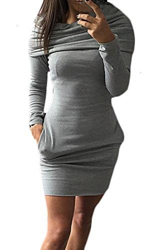 Felpa Donna Casual Pullover Maglione Lunga Vestiti Tubino Cappuccio Grigio Vestito S Vestitini Manica Puro Abito Corti Xl Con Abiti Ragazza Eleganti Colore Dress Mini 5rr4fqx