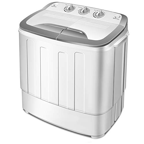 Giantex Portable Compact 13 Lbs Mini Twin Tub Washing Machine Washer Spin Dryer (Gray&White)