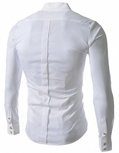 NQ Men's Stand collar Shirt Casual Solid Long Sleeve Dress Shirt L White