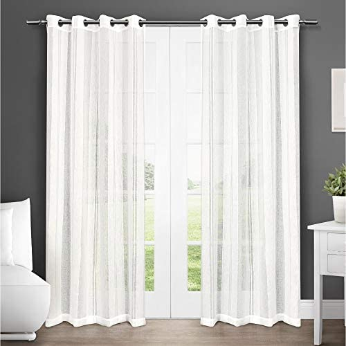 Exclusive Home Apollo Window Curtain Panel Pair with Grommet Top, Off-White, 50×96, 2 Piece