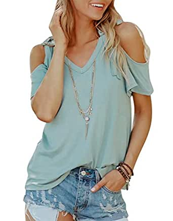 JINTING Women's Cold Shoulder Top Plus Size Short Sleeve Casual Top Blouse Shirt - Blue - Medium