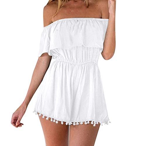 Dainzuy Women Sexy Off Shoulder Solid Loose Playsuit One Piece Summer Strapless Tassel Romper Casual Beach Short Jumpsuit White
