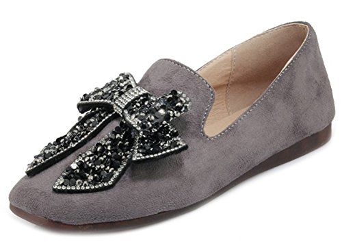 Aisun Women's Sweet Slip On Low Top Flat Loafers With Bow Gray CqP5RP