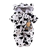 Fartido Newborn Baby Girl Boy Cartoon Dairy Cow Velvet Jumpsuit Hooded Romper (0-3 Months)