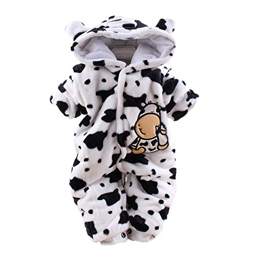 LIKESIDE Newborn Baby Girl Boy Cartoon Dairy Cow Velvet Jumpsuit Hooded Romper Clothes by LIKESIDE_baby clothes