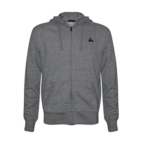 Polo Ralph Lauren Mens Limited Full Zip Bear Hoodie (Grey/Basketball, X-Large)