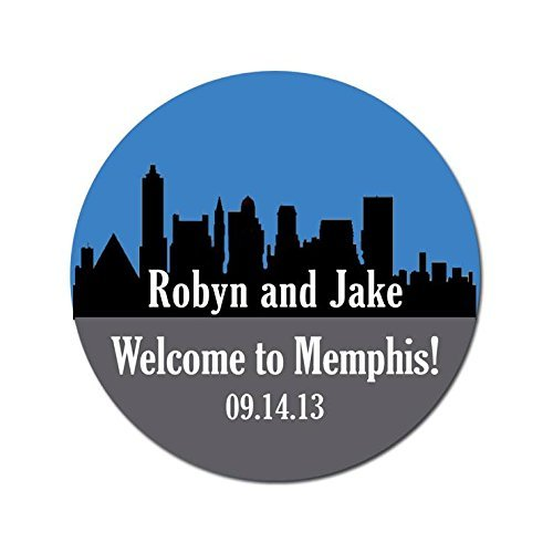 Personalized Customized Wedding Favor Stickers - Memphis Tennessee Skyline - Out Of Town Guest Bags - Choose Your Size