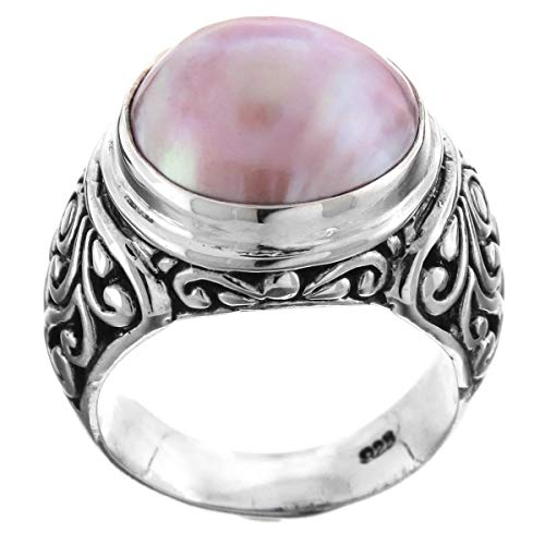 (Size 7 Scroll South Pacific Pink Mabe Cultured Pearl 925 Sterling Silver Ring)