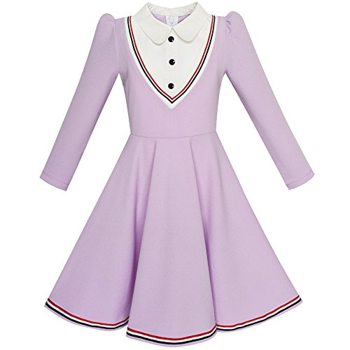 Sunny Fashion LP76 Girls Dress School White Collar Purple Long Sleeve Striped Size 10 (School Dress Uniform)