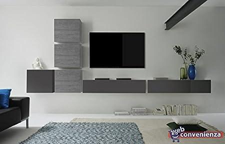 soggiorno grigio e legno