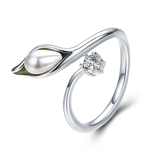 Everbling Elegant Calla Lilies Flower Buds 925 Sterling Silver Adjustable Ring, Simulated Pearl & CZ ()