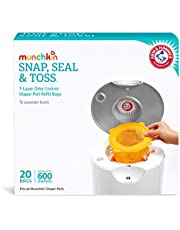 Munchkin Arm and Hammer Diaper Pail Snap, Seal and Toss Refill Bags, Holds 600 Diapers, White 20 Count
