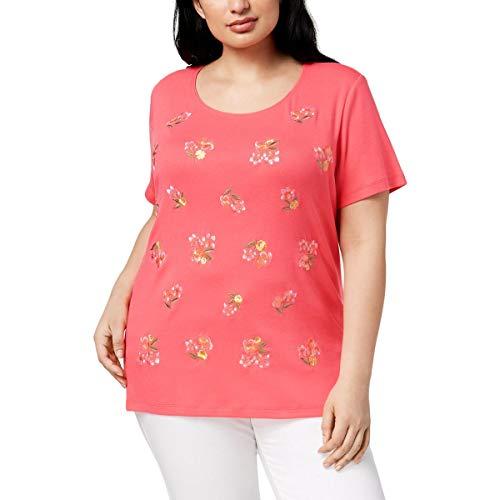 (Karen Scott Womens Plus Short Sleeves Crewneck T-Shirt Pink 1X)