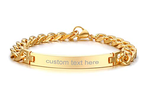 Personalized Engravable Stainless Steel ID Bracelets for Men Women, Name Plate Identity Bracelets,Birthday Gift