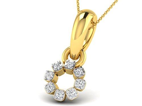Or Jaune 18 ct Pendentifs Diamant en forme de fleur, 0.02 Ct Diamant, GH-SI, 0.37 grammes.