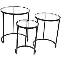 Sagebrook Home FM10409-01 S/3 Metal & Glass Nesting Tables, 23.5 X 23.5 X 26, Black