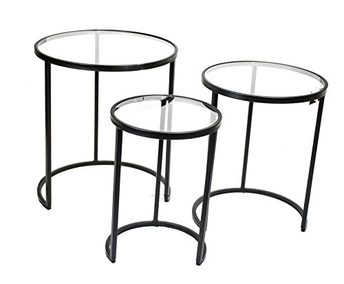 Sagebrook Home FM10409-01 Metal & Glass Nesting Tables, Black Metal, 23.5 x 23.5 x 26 Inches (Set of 3)