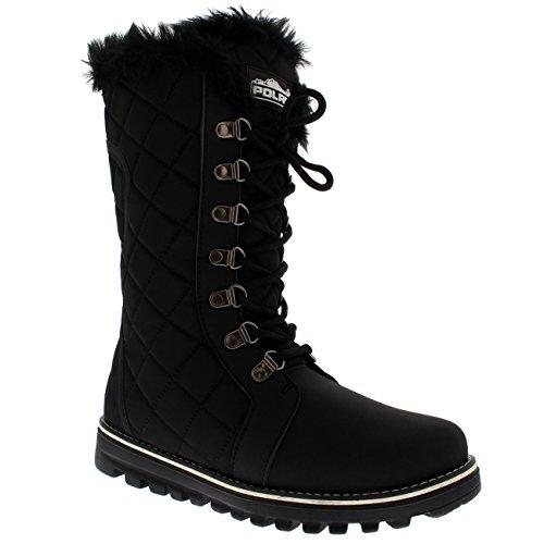 Pellicce Nylon Boot Nylon Stivali Nero Donna Impermeabile Faux Trapuntato di La Neve Pioggia Allineate Polar Tall tdIxwUqpU