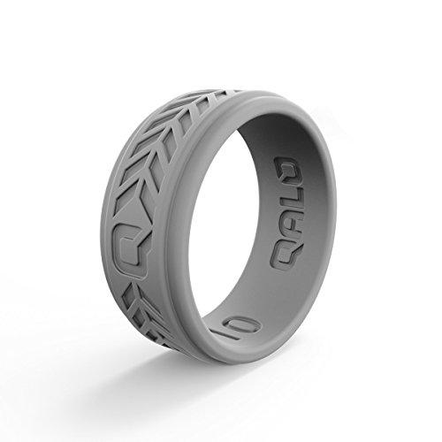(QALO Men's Light Grey Chevron Q2X Silicone Ring Size 13)