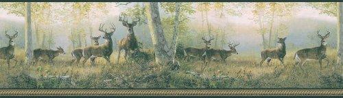 Brewster 145B03853 Northwoods Lodge Running Black Deer Border ()