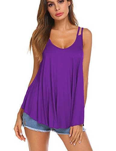 (Womens Basic Sleeveless Tee Shirt Blouse Loose Fit Spaghetti Straps Tunic Tank Top Purple M)