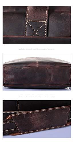 Sac Homme documents En Pour Brown Brown Capacité Porte color Ordinateur Cuir Ploekgda Bandoulière Main Réglable Portable Grande À R6CBdxC