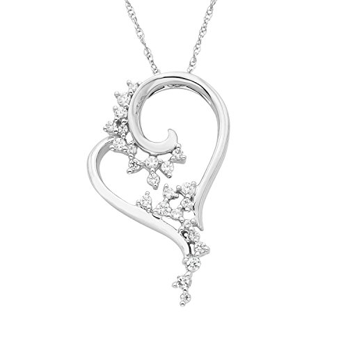 14K White Gold 1/5 Cttw. Scattered Diamond Heart Pendant Necklace with 18 Chain