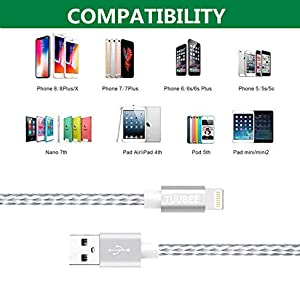 iPhone Charger Cable,3 Pack 3FT TUUBEE Nylon Braided iPhone Charging Cable Durable Data Lightning Cord Fast Charging & Syncing iPhone Charger Compatible iPhone XS/Max/XR/X/8/8P/7/7P/6/6P/iPadï¼?Silverï¼?