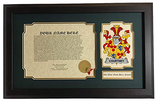 Courtney - Coat of Arms and Last Name History, 14x22 Inches Matted and Framed
