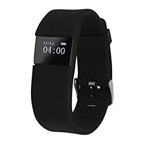 ActiveTec Fitness Tracker Smart Watch Bluetooth Watch Bracelet Smartband Calorie Counter Wireless Pedometer Sport Activity Tracker Android IOS Phone (Black (Belt Buckle))