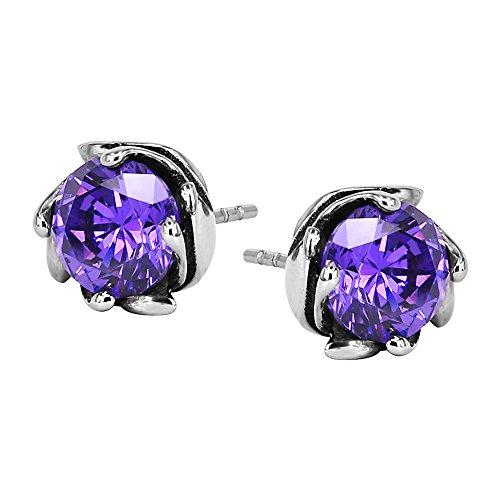 Dragon Claw with Black Stone Ball VintagePunk Stud Earring Surgical Steel Earrings for Men Women (#7 Purple Zircon) Dragon Vintage Earrings