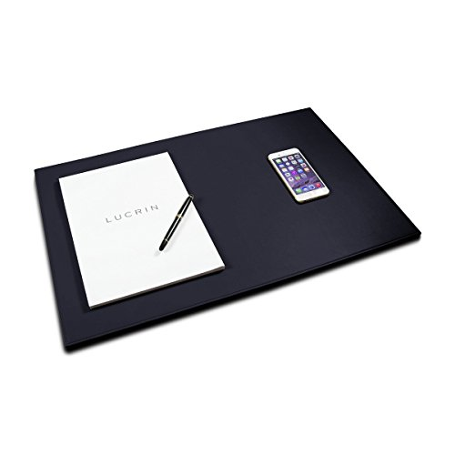 Lucrin - Rigid Desk Pad Blotter 23.6 x 15.7 inches - Navy Blue - Smooth Leather by Lucrin