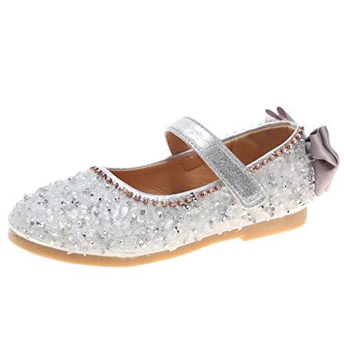 (Tantisy ♣↭♣ ToGirls Ballet Flats Shoes Ballerina Jane Mary Wedding Princess Dress Silver)