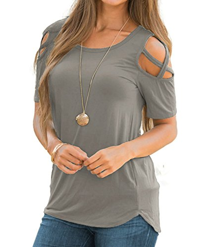 Knit Top Cross Criss (Qingre Women T-shirt Short Sleeves Criss Cross Strapless Round Neck Tunic Top Plain Sexy Tee Trendy Tops Blouses Gray XL)