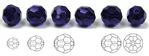 (8mm Cobalt Blue, Czech Machine Cut Round Crystal Beads, 12 pieces)