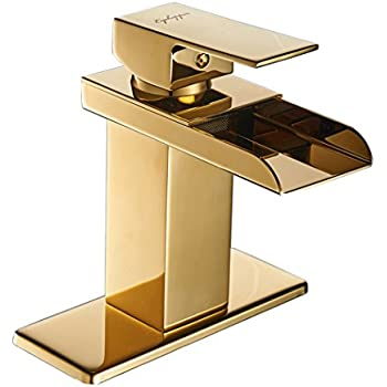 Eyekepper Comteporary Style Waterfall Single Handle Basin Vanity Sink Vessel Bathroom Faucet Mixer Tap,Gold Finished
