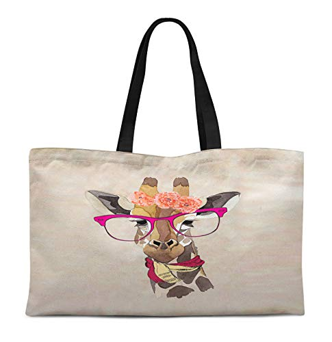 (Timingila White Giraffe Face And Glasses Animal Print Canvas Shopping Tote Bag Carrying Handbag Casual Shoulder Bag 12x16 Inches)