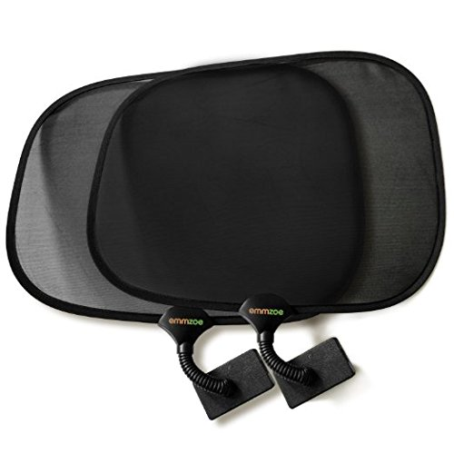 Compact Stroller Sunshade - Emmzoe Clip On Sun Shade Baby Toddler UV 50+ Protection for Stroller, Car Seat, Table, Outdoors (2 Pack)